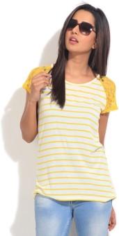 Van Heusen Striped Women's Round Neck T-Shirt