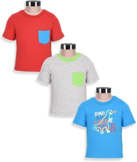 Mothercare Solid Boy's Round Neck Grey, Blue, Red T-Shirt Pack Of 3