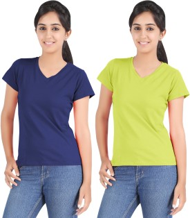 Hbhwear Solid Women's V-neck Reversible Blue, Green T-Shirt Pack Of 2