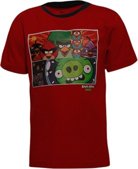 Angry Birds Printed Boy's Round Neck Red T-Shirt