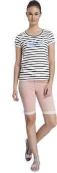 Only Striped Women's Round Neck White T-Shirt