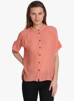 Vero Moda Solid Women's Mandarin Collar Pink T-Shirt