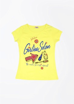 Day 2 Day Graphic Print Boy's Round Neck Yellow T-shirt