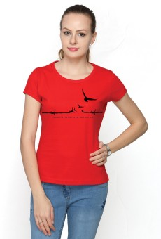 Top Notch Printed Women's Round Neck Red T-Shirt
