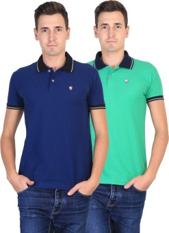 Duke Solid Men's Polo Neck Blue, Green T-Shirt Pack Of 2
