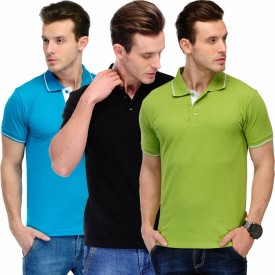 Scott International Solid Men's Polo Green, Black, Blue T-Shirt Pack Of 3