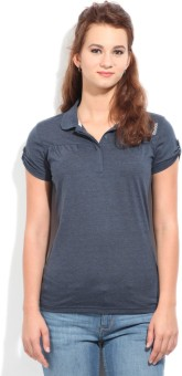 Reebok Solid Women's Polo Blue T-Shirt