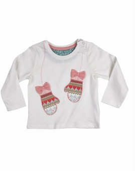 Mothercare Solid Girl's Round Neck White T-Shirt