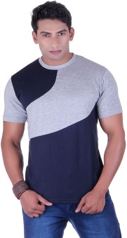 VividBharti Sinker Cotton Grey Navy Solid Men's Round Neck T-Shirt