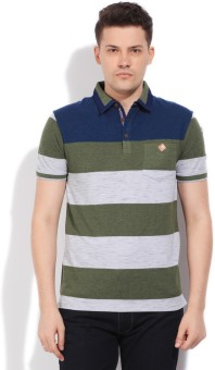 Fort Collins Striped Men's Polo Grey, Blue, Green T-Shirt