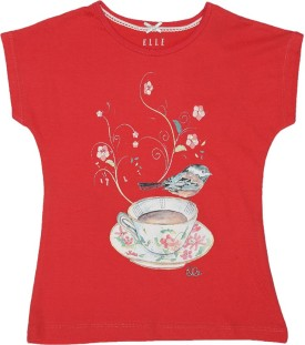 Elle Printed Girl's Round Neck Red, White T-Shirt