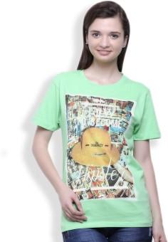 Go India Store Printed Women's Round Neck Light Green T-Shirt