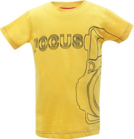 UFO Printed Boy's Round Neck Yellow T-Shirt