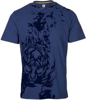 Huetrap Crouching Tiger Blue Graphic Print Men's Round Neck T-Shirt