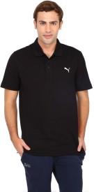 Puma Solid Men's Polo Neck Black T-Shirt