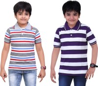 Dongli Striped Baby Boy's Polo Neck Grey, Purple T-Shirt (Pack Of 2)
