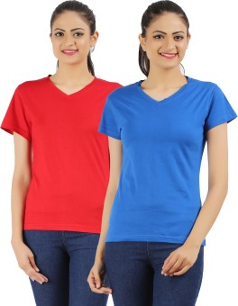 Ap'pulse Solid Women's V-neck Red, Blue T-Shirt Pack Of 2
