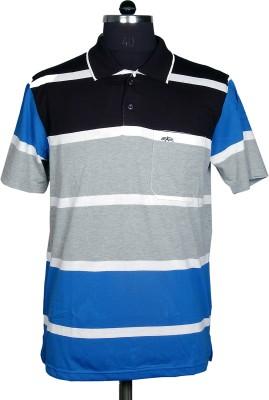 Adobe Striped Men's Polo Neck T-Shirt