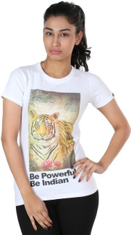 The Indian Be Powerful Graphic Print Women's Round Neck T-Shirt
