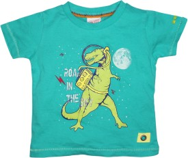 FS Mini Klub Printed Boy's Round Neck Green T-Shirt