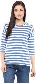 Hypernation Striped Women's Round Neck Blue, White T-Shirt - TSHEJ3VGFJAHPX8Y