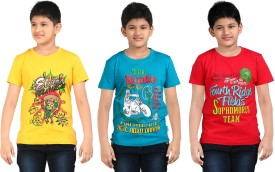 Dongli Printed Boy's Round Neck Yellow, Blue, Red T-Shirt Pack Of 3