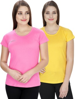 NGT Solid Women's Round Neck Yellow, Pink T-Shirt Pack Of 2