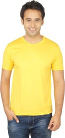Quetzal Solid Men's Round Neck Yellow T-Shirt