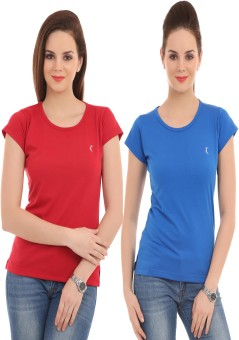 Ultrafit Solid Women's Round Neck Blue, Red T-Shirt Pack Of 2