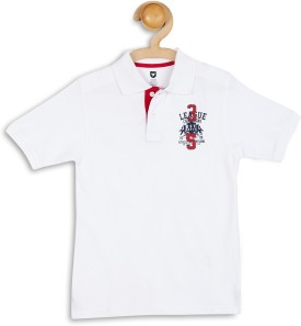 612 League Graphic Print Boy's Flap Collar Neck White T-Shirt