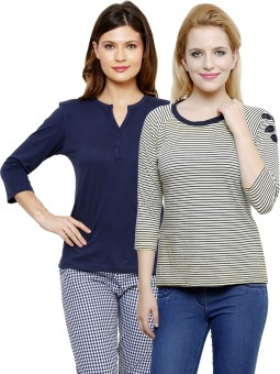 Limeberry Striped, Solid Women's Round Neck, V-neck T-Shirt Pack Of 2 - TSHEEFKQ5UJUTY8K