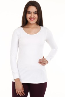 Mustard White Cotton Spandex Solid Women's Round Neck T-Shirt