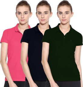 Polo Nation Solid Women's Polo Neck Green, Dark Blue, Pink T-Shirt Pack Of 3