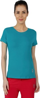 Red Ring Solid Women's Round Neck Green T-Shirt