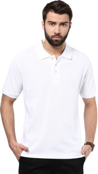 American Crew Solid Men's Polo Neck White T-Shirt