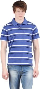 Moonwalker Striped Men's Polo Neck Blue T-Shirt