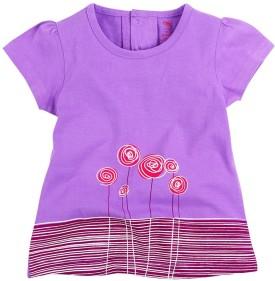 Oye Printed Girl's Round Neck Purple T-Shirt