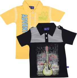 SPN Garments Printed Boy's Polo Neck Dark Blue, Yellow T-Shirt