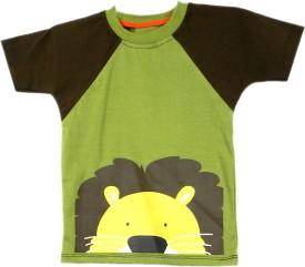 SSMITN Animal Print Boy's Round Neck Green T-Shirt