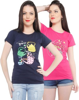 Jazzup Printed Women's Round Neck Blue, Pink T-Shirt Pack Of 2