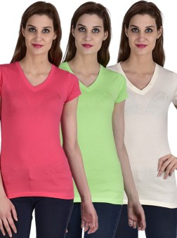 Youthen Solid Women's V-neck White, Green, Pink T-Shirt Pack Of 3