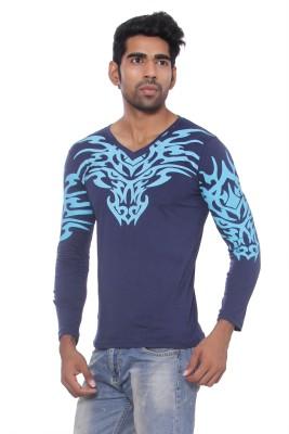 Pezzava Self Design Men's V-neck Reversible T-Shirt