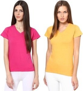 Softwear Solid Women's V-neck Pink, Yellow T-Shirt Pack Of 2