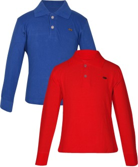 Gkidz Solid Boy's Polo Neck Blue, Red T-Shirt Pack Of 2