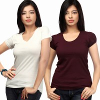 Happy Hippie Solid Women's V-neck T-Shirt Pack of 2