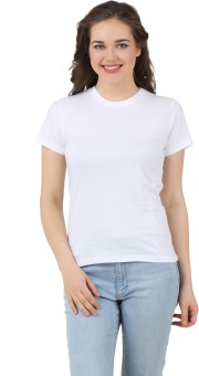 Girlful Solid Women's Round Neck White T-Shirt