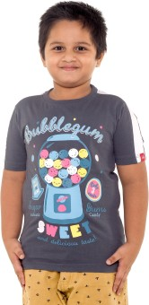 Menthol Printed Boy's Round Neck Grey, White T-Shirt