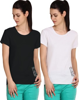 Yogaandsportswear Printed Women's Round Neck Black, White T-Shirt Pack Of 2