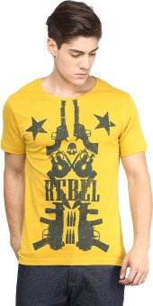 Yepme Graphic Print Men's Scoop Neck Yellow T-Shirt