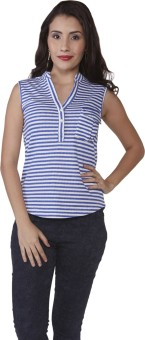 Globus Striped Women's Mandarin Collar T-Shirt - TSHE7GT7SBSRGWSU